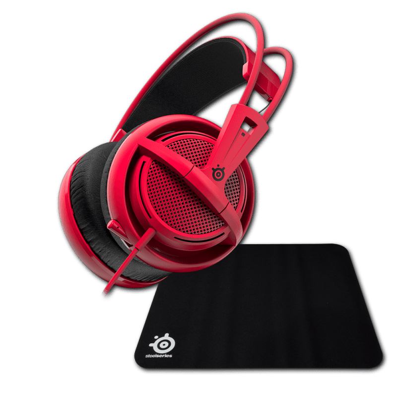 Гарнитура Siberia 200 Forged Red + коврик Steelseries Qck Mini - фото 1