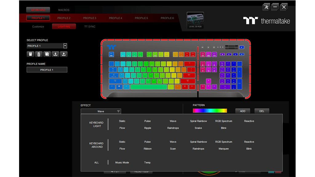 Настройка Thermaltake Level 20 RGB Cherry MX Speed