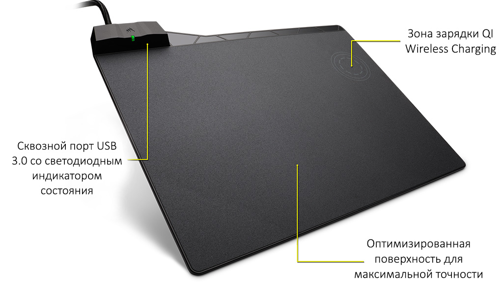 Плюсы CORSAIR MM1000 Qi Wireless Charging Mouse Pad