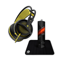 Гарнитура Siberia 200 Proton Yellow + коврик Steelseries Qck Mini